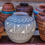 stock photo of colorful pottery