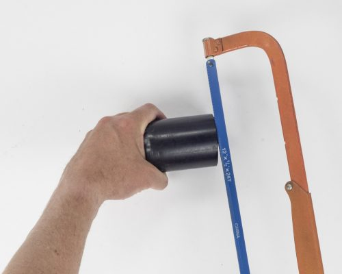 Cutting PVC pipe to required size for creating DIY macro lens