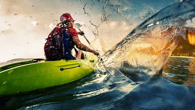 Kayaker action photo for stock photography