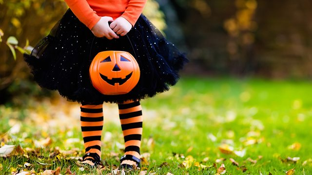 Fall themed stock photo of a little girl at Halloween