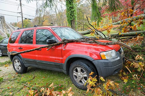 Alamy stock photo showing a damaged car