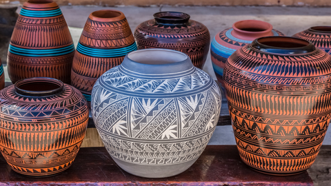 Clay pots in New Mexico create a best selling stock photo