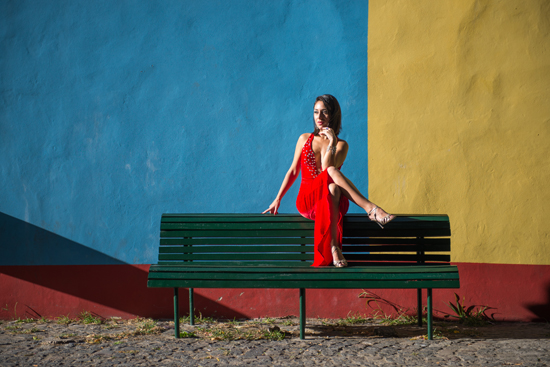 A model posing for a stock photo in Buenos Aires