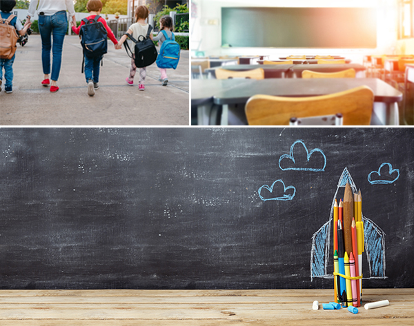 Examples of back to school stock photography