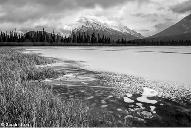 greyscale black and white image of mountain. Great example of photography