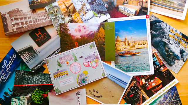 Postcards from around the world.
