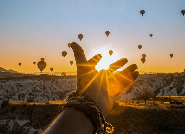 Hot air ballons at sunrise