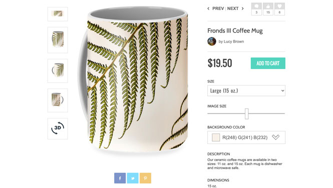 Fronds Coffee Mug by Lucy Brown